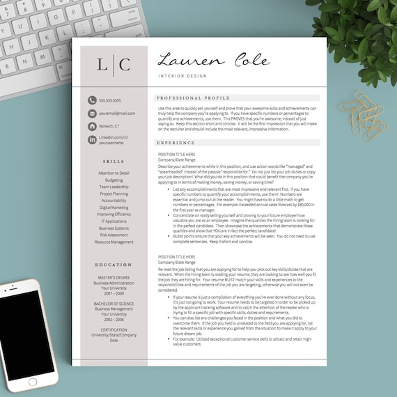 Creative Resume Template for Word & Pages 1 2 and 3 Page