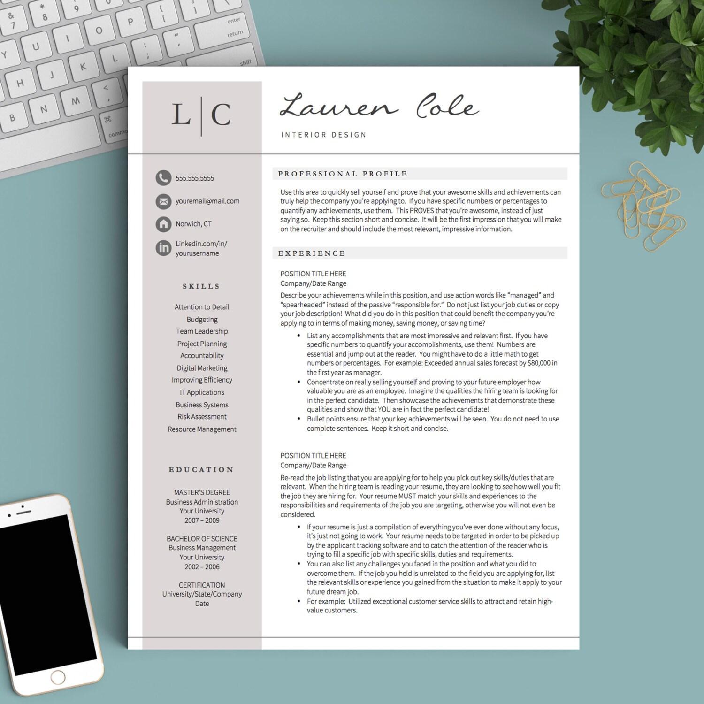 Kreative Lebenslauf Vorlage für Word & Seiten 1 2 und 3