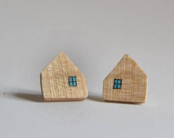 Light wooden house earrings