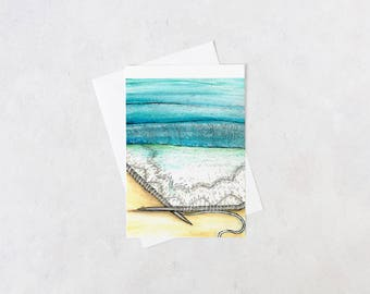lacey knitted seascape notecard | blank interior, knitting gifts, crafter, handmade, artist