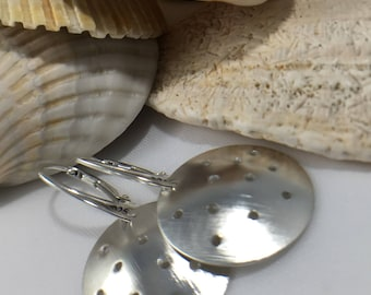 Sterling Silver Pierced and Domed Metal Disc Earrings-Coincidental