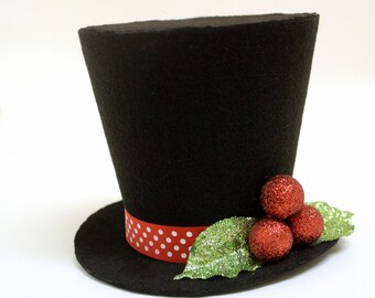 Holly and berry frosty the snowman top hat. Tree topper, Christmas decoration New monogram option