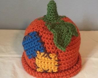 Crocheted Colorful Pumpkin Hat for  Newborn Toddler Children Unique Novelty Hat