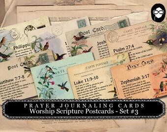 Illustrated Faith - Worship Prayer Journaling PostCards #3 - 2 Page Instant Download - scripture art, bible journaling kit, printable verses