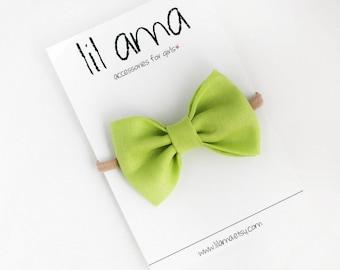 Lime Green Baby Headband - Fabric Bow - Newborn Headband - Baby Girl Hair Bow - Green Bow Headband - Nylon Headband - Baby Headband Bow