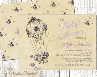 Baby Girl Balloon Vintage Baby Shower invitation, chic baby shower invitation, lavender purple or pink, girl baby shower, vintage balloon