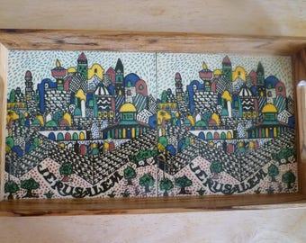 Vintage Judaica wood tray with ceramic tiles inside depicting Jerusalem, Made in Israel