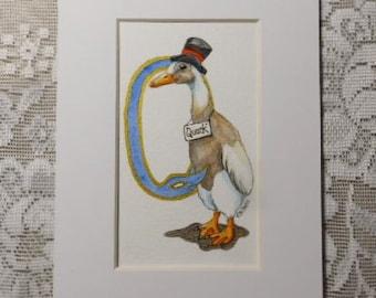 Letter Art, alphabet letters, initial Q, duck art, duck in top hat, illustrated letter Q, original watercolor