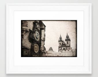Prague Old Town, distressed Prague Photo, Sun Moon Clock, Tower Prague Print, Astronomical Clock Print, Prague, minimalist decor style