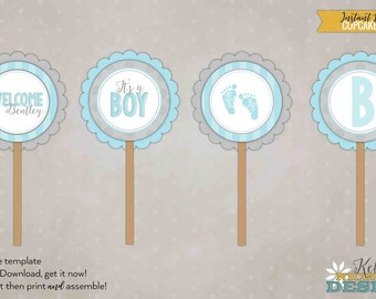 It's a Boy Baby Shower Cupcake Toppers, Light Blue & Gray Baby Shower Decorations, DIY, Instant Download