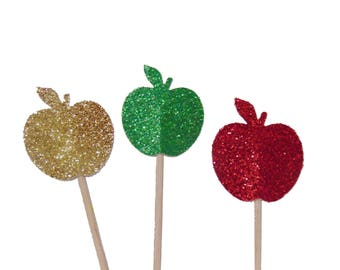 Apple Cupcake Toppers, Party Decorations - No423