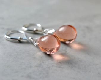 Peach Earrings, Teardrop Earrings, Peach Drop Earrings, Peach Bridesmaid Earrings, Small Drop Earrings, Silver Leverback Earrings, UK shops