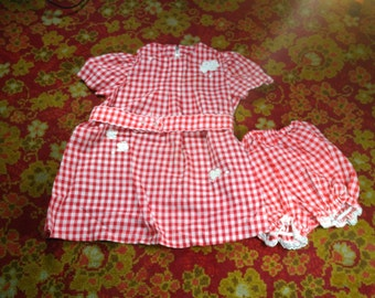 Vintage Toddlers Red Check Dress & Bloomers w/ Flower Appliques 1960s (vc2)