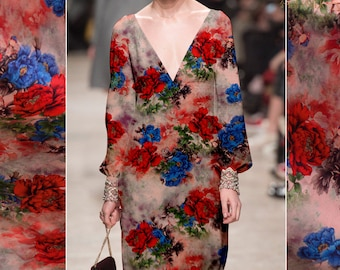 Red Blue Peony Flowers Stretch Silk Satin Fabric By The Yard