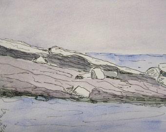 Plein Air Painting On The Rocks Pemaquid Maine Seascape Painting Kathleen Daughan Maine Artist Watercolor Painting Original Ocean Painting