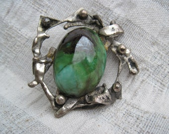 Green Stone and Silver Lapel Pin