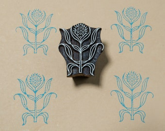 Flower 0117, hand carved textile stamp