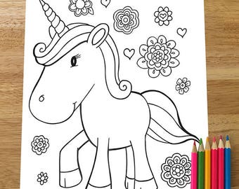 Cute Unicorn Coloring Page! Downloadable PDF file!