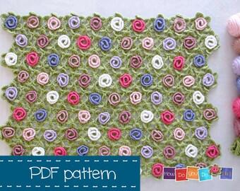 PDF Crochet Pattern, Flower Baby Blanket, Newborn Blanket Crochet Pattern, Crochet Baby Afghan Pattern, Baby Photo Prop Crochet Pattern