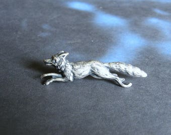 Run Fox Run - Antiqued Silver Plated Fox Brooch, Lapel Pin or Tie Pin, Tie Tack with Gift Box