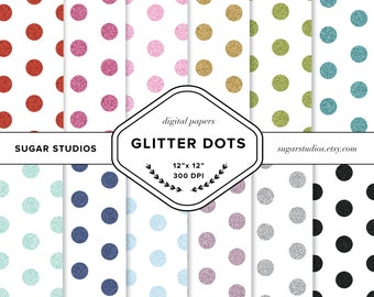 Glitter Dot 12 Piece Digital Scrapbook Paper Pack - Personal and Commercial Use - INSTANT DOWNLOAD