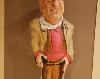 John Wayne sculpture, John Wayne gifts, Handmade paper mache figure