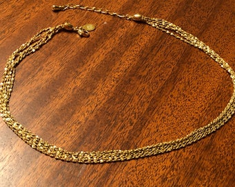 Vintage marked Nolan Miller 18 inch gold tone quad chain necklace in excellent condition + FREE shipping!