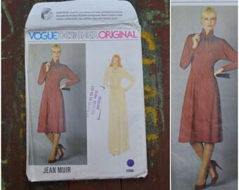 """Vintage 80s Vogue Designer Original dress making pattern, Designer Jean Muir, Number 2568, Size 12, Bust 87cm/34"""", Uncut, Factory Folded"""