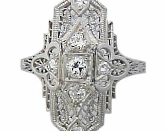 Antique Art Deco Platinum Diamond Filigree Ring