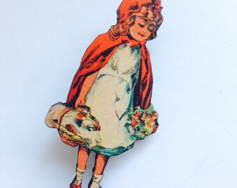Victorian Little Red Riding Hood Carries Basket in her Cloak Wooden brooch pin Birthday Christmas Holiday Childrens Stories Bookworm Gifts
