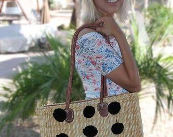 Handwoven Water Reed Basket, Purse, Leather Zip Closure, plush pom poms, bridesmaid gift