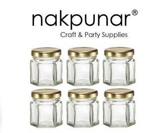 6 pcs 1.5 oz Hexagon Glass Jars with Gold Lids
