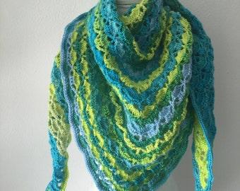 crochet shawl green, blue and turqoise