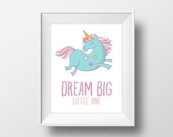 SALE -  Dream Big Little One, Pastel Color Art Poster Print, Baby Girl Nursery, Wall Decoration, Unicorn, Fairy Tale Stars, Handletter