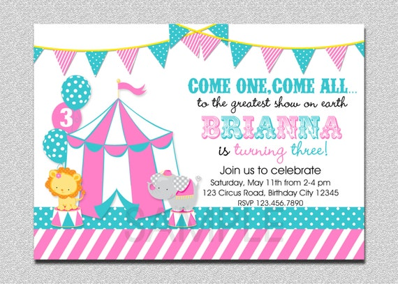 Girls Circus Birthday Invitation Circus Birthday Party