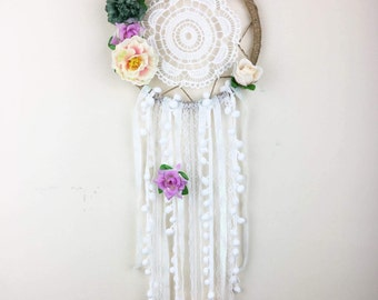 Floral Dream Catcher, Wedding Decoration, Gift Idea, Gift for her, Home Decoration, Nursery Decoration, Wall Decor, Wall Hanging