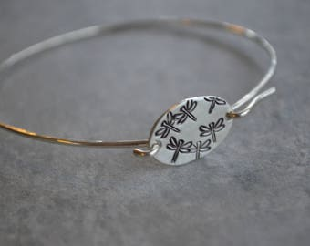 dragonfly sterling silver bangle bracelet