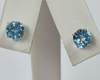 Natural Blue Topaz Stud Earrings Solid 10kt Yellow Gold