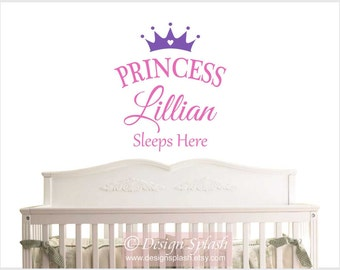 Personalized Girl's Name Princess Sleeps Here Vinyl Wall Decal, Baby Girl Nursery NM-134
