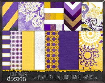 Digital paper, Digital Scrapbook paper pack - Instant download - 12 Digital Papers - Purple and yellow