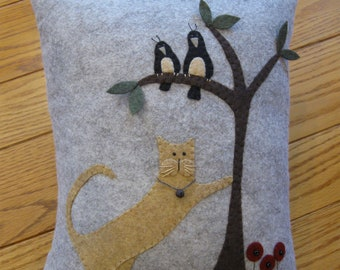 Whimsical Cat and Birds Wool Applique Pillow Hand made