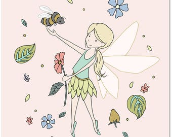 Girl Nursery Art -- The Fairy and The Bumblebee -- Children's Art Print -- Kids Wall Art -- Girls Room Art -- Fairy Art