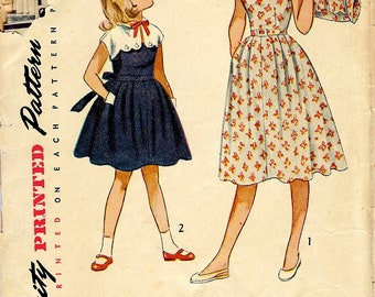 1950's Girl's Sun Dress with Button on Bolero , Simplicity Sewing Pattern No. 3499 , Girl's Party Dress , Easter Dress  - Size 7 Girl's