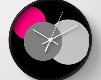 Clock, Pink Grey & Black Circles Clock, Colorful Clock, Modern Clock, Geometric Clock, Wall Clock, Home Decor, Kitchen Clock