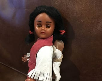 Native American Indian doll vintage baby on back