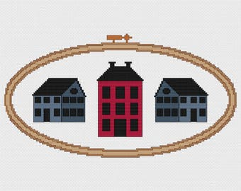 Saltbox Houses in Embroidery Hoop Cross Stitch Pattern