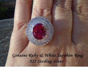Ruby Or Blue & White Sapphire Ring