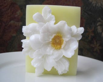 "Soap. Camellia Flower. Scent of ""Morning Rain""."
