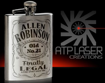 Personalized 21st Birthday Gift - FK1006 - flask, engraved flask, gift for him, personalized Birthday