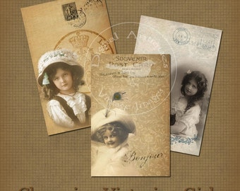 Charming Victorian Girls Postcards Printable Digital Download